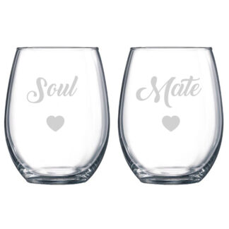 Soul Mate Stemless Wine Glasses