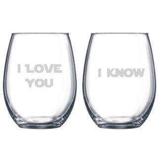 Star Wars inspired I love you I know stemless wine glasses