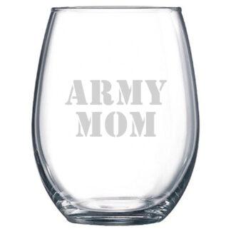 Army Mom Stemless Wine Glass