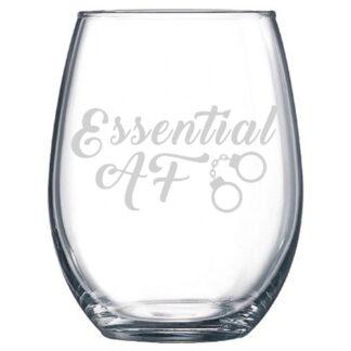 essential af stemless wine glass police officer