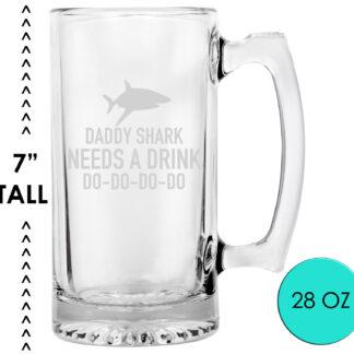 Daddy Shark Beer Mug Glass