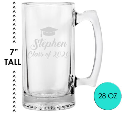 Personalized Graduation Beer Mug Glass
