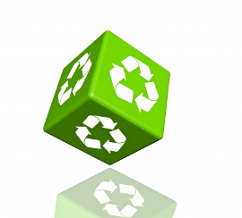 dice with recycle triangle