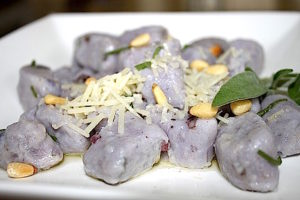 A plate of playful purple gnocchi with brown butter and sage | urbnspice.com