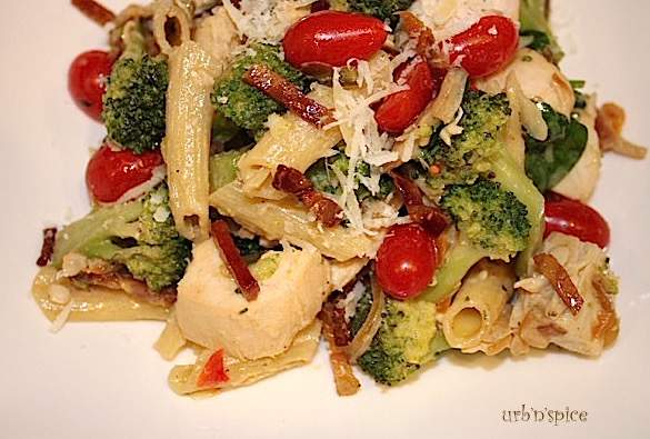 Herb and Garlic Chicken, Pancetta and Broccoli Pasta   urbnspice.com