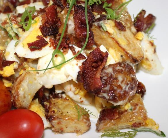 Double Duty Recipes: Roasted Potato, Crispy Bacon & Chive Salad | urbnspice.com