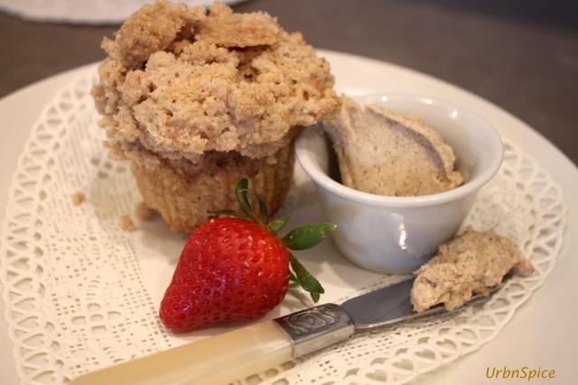 Apple Streusel Muffins with Creamy Cinnamon Spread | urbnspice.com