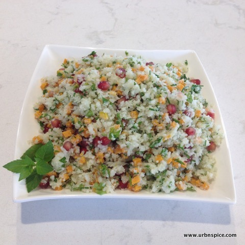 Cauliflower Tabbouleh with Pomegranate Seeds   urbnspice.com