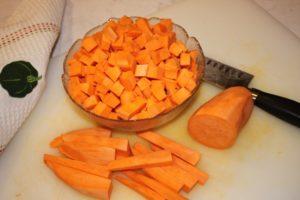 Sweet Potato: dicing into cubes   urbnspice.com
