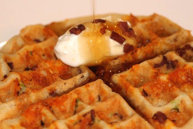 Savoury Crispy Bacon, Cheddar and Green Onion Waffle | urbnspice.com