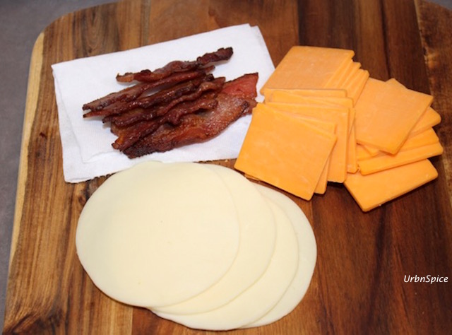 Preparing the Ingredients for Grilled Double Cheese Bacon Sandwich   urbnspice.com
