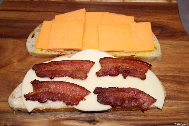 Assembling the Grilled Double Cheese Bacon Sandwich   urbnspice.com