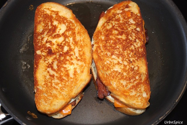 Second Flip on the Grilled Double Cheese Bacon Sandwich   urbnspice.com