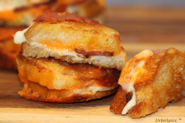 Variation of the Grilled Cheese Sandwich is using a baguette to make mini grilled cheese sandwiches   urbnspice.com