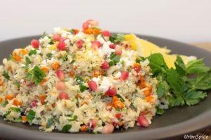 Plated Roasted Cauliflower Tabbouleh   urbnspice.com