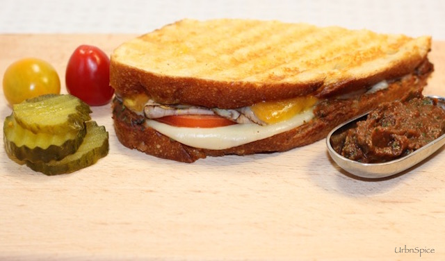 Panini spread inside and served with Power Sauce | urbnspice.com