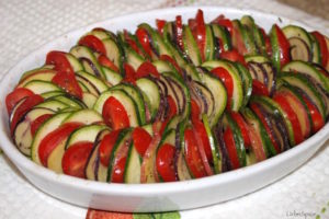 The vegetables are layered together and ready to bake the Vegetable Tian   urbnspice.com