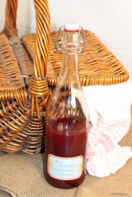Old Fashioned Raspberry Cordial ready for the picnic | urbnspice.com