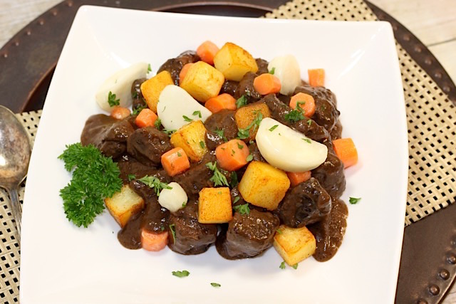 Plated Classic Braised Beef Stew | urbnspice.com