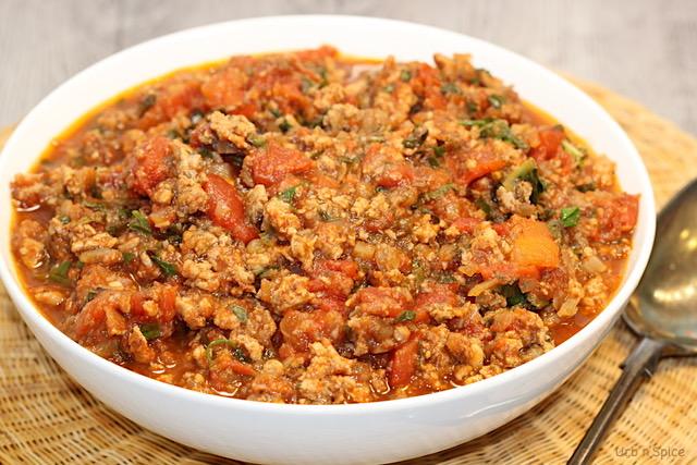 Turkey, Mushroom and Power Greens Pasta Sauce   urbnspice.com