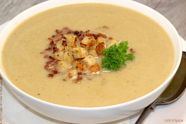 Cream of Cabbage Soup with Crispy Bacon Bits and Petite Crunchy Croutons | urbnspice.com
