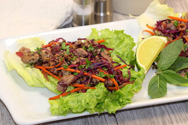 Savoury Blenditarian Brunch Pork with Vegetables & Fine Herbs in lettuce cups | urbnspice.com