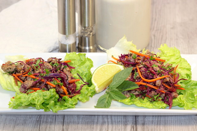 Blenditarian Brunch Pork and Vegetables with Fine Herbs in Lettuce Cups | urbnspice.com