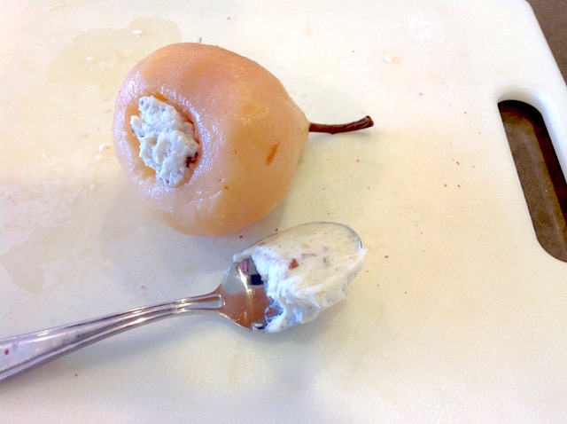 Poached Pear is stuffed with Cream Cheese Pecan Filling