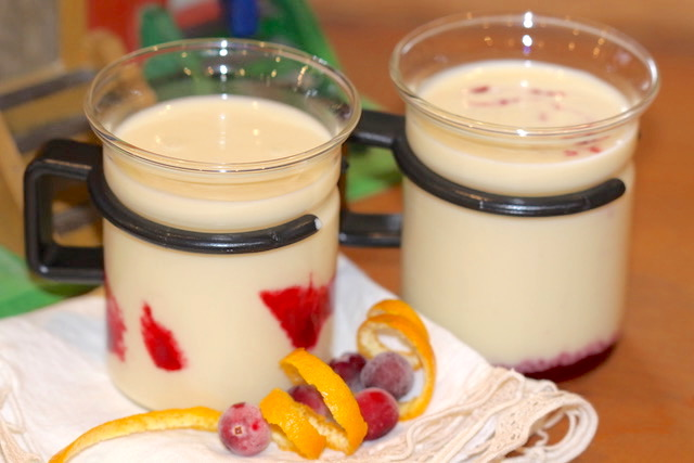 Dairy-Free White Chocolate Eggnog with Cranberry Coulis in Bodem Cups | urbnspice.com