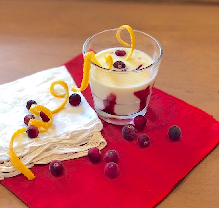 White Chocolate Eggnog with Cranberry Coulis
