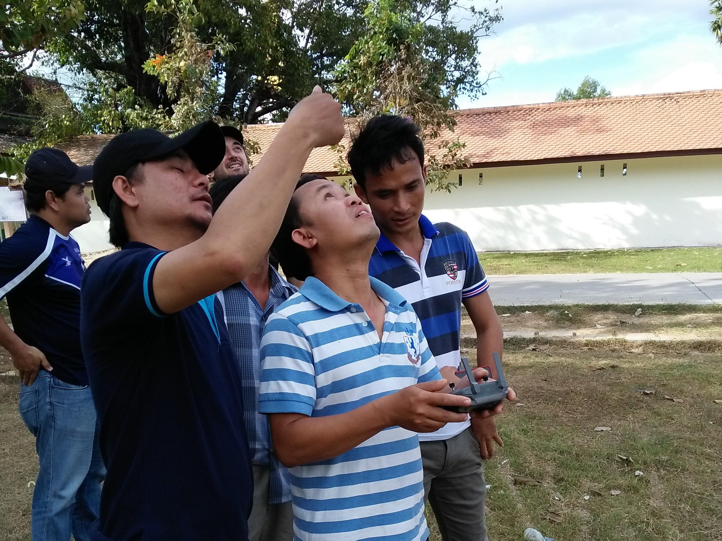 Drone practice at Vat Sikhottabong