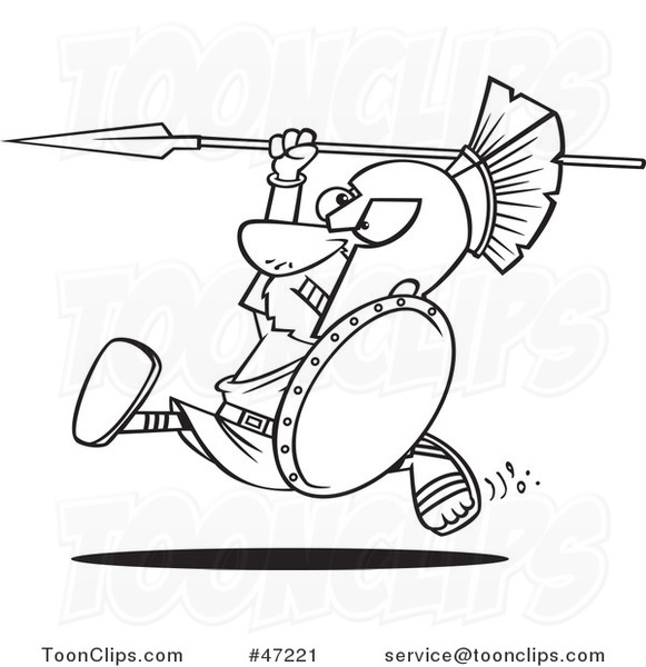 black-and-white-cartoon-spartan-warrior-running-with-a-spear-and-shield-by-toonaday-47221.jpg?time=1628110602