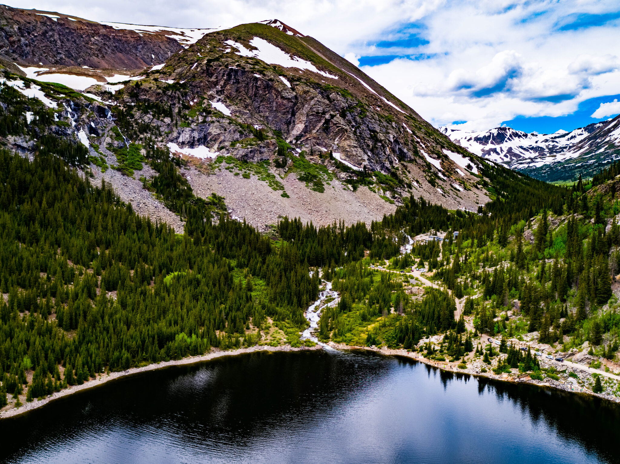 Mountain with lake and waterfall