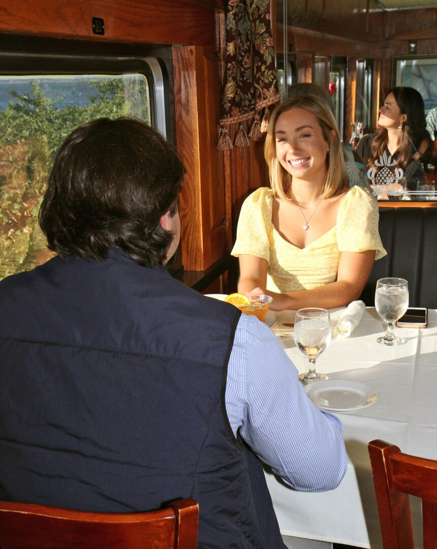 diners at the Grand Bellevue train