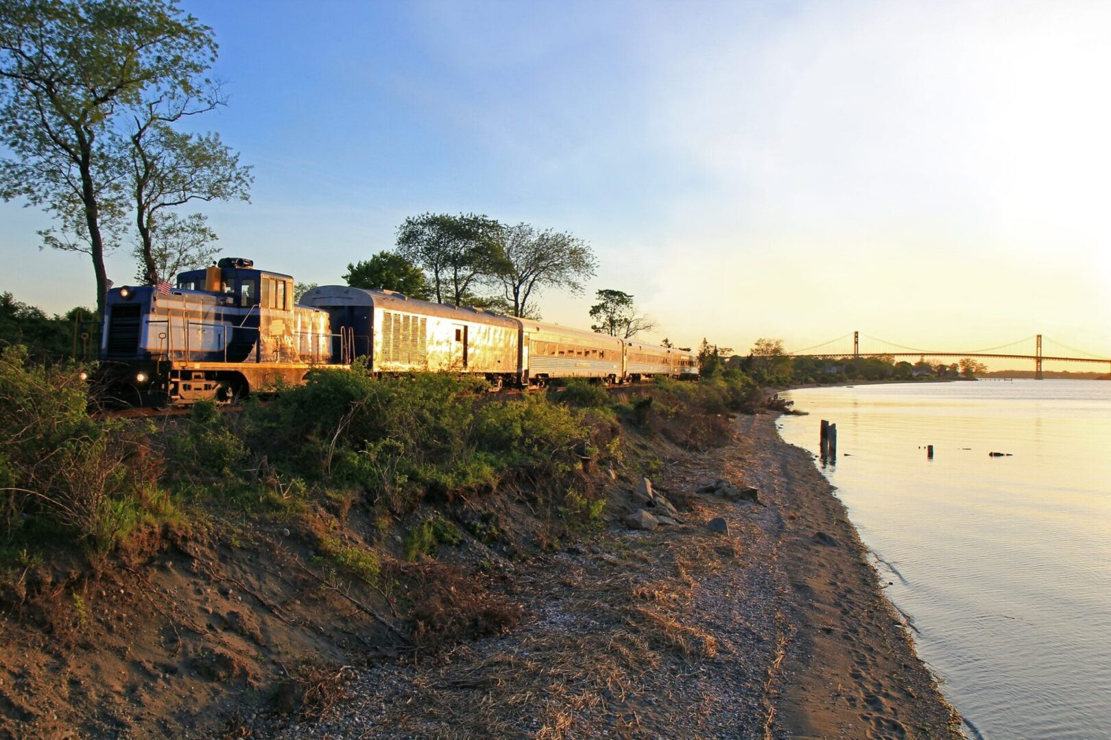 Grand Bellevue train passing by the bay in Rhode Island