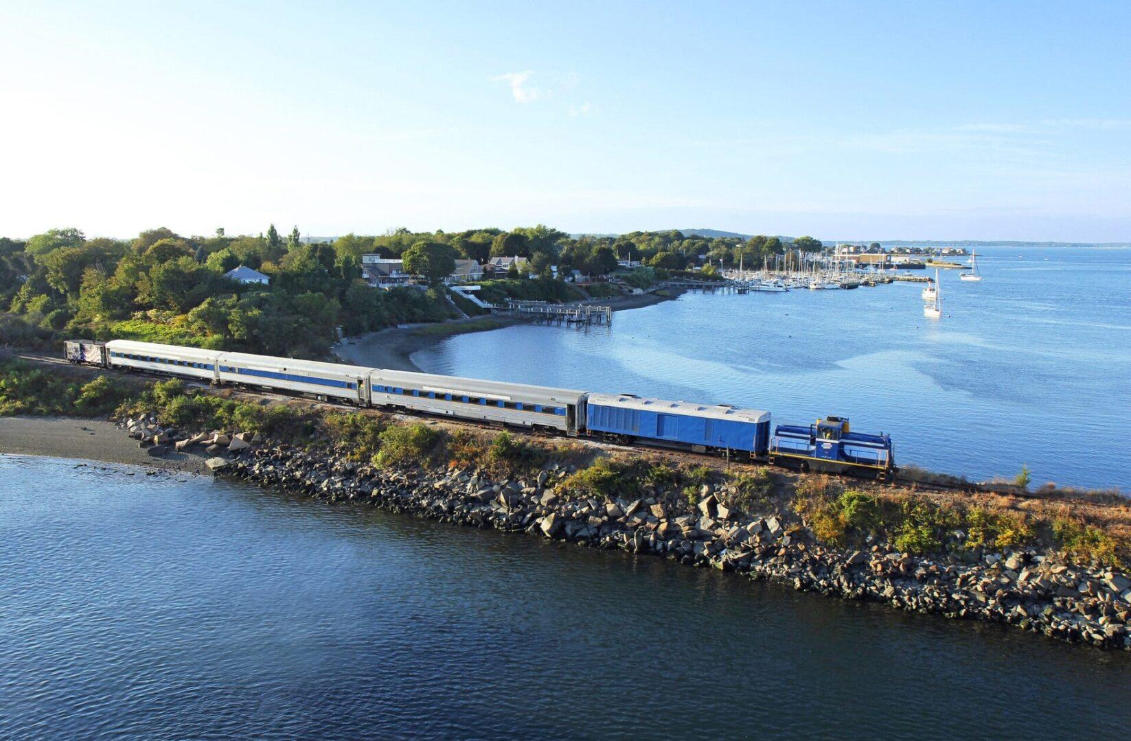 Grand Bellevue train at the Causeway in Rhode Island