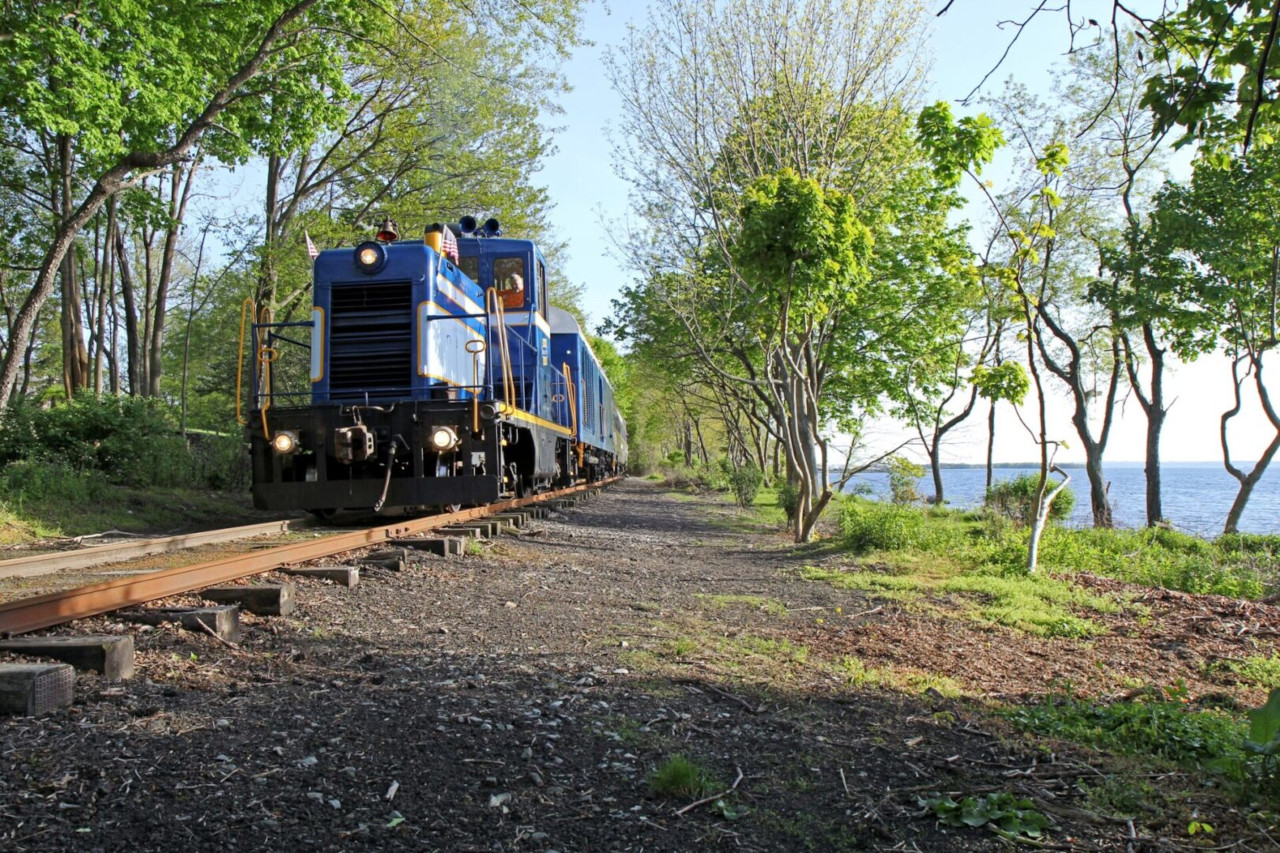 Grand Bellevue train passing by Green Animals Topiary Gardens in Rhode Island