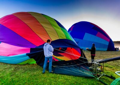 Hot air balloon inflating before take-off