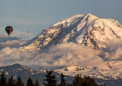 Hot air balloon in front of MT. Rainier from Mercer Iland