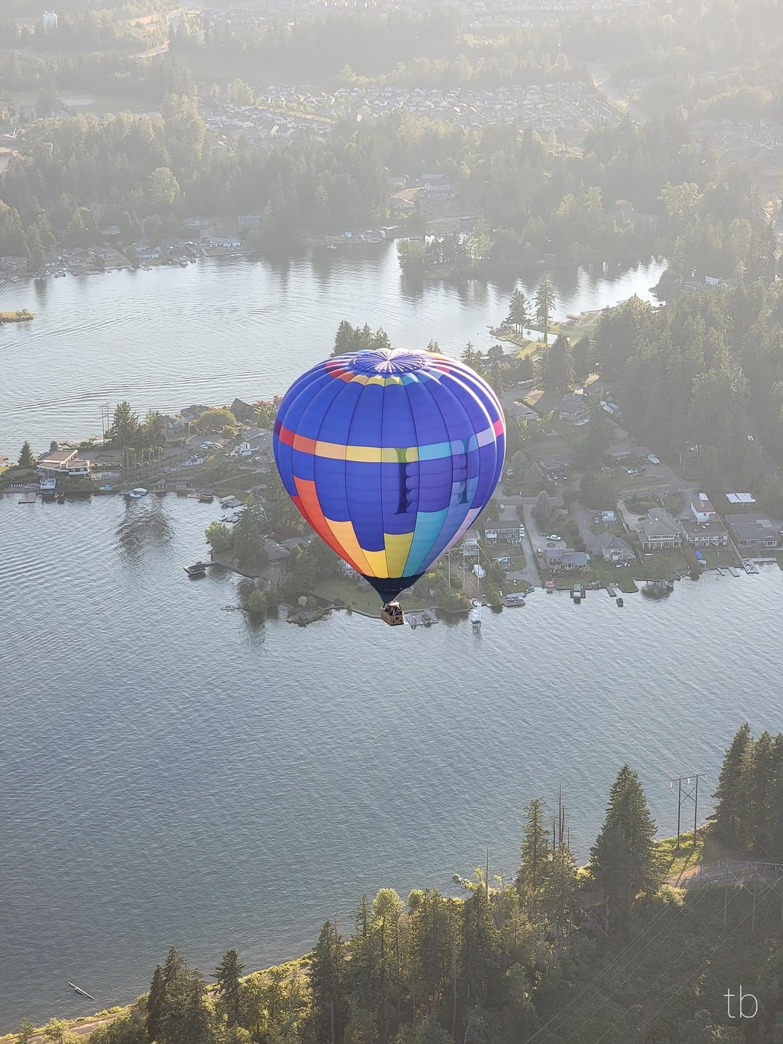 hot air balloon flying to landing location