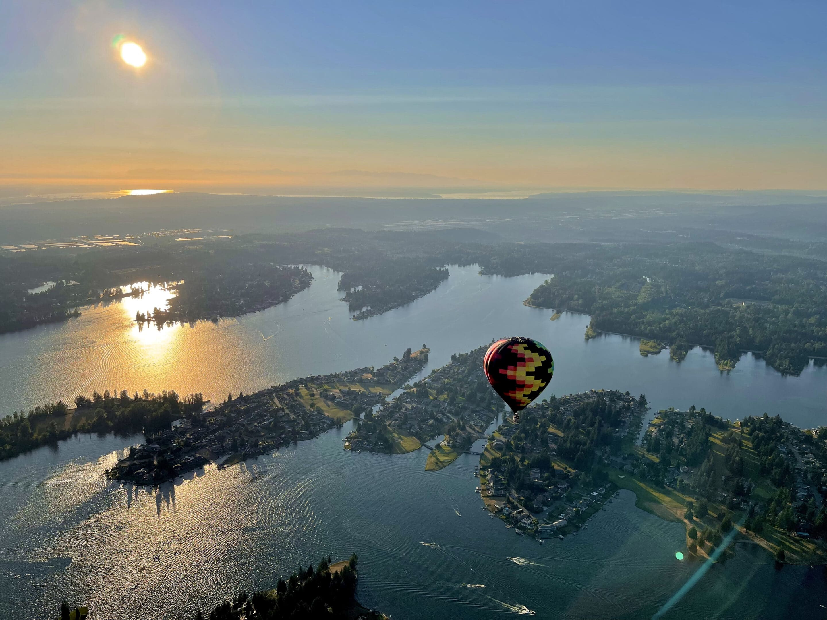 Hot air balloon ride in good weather