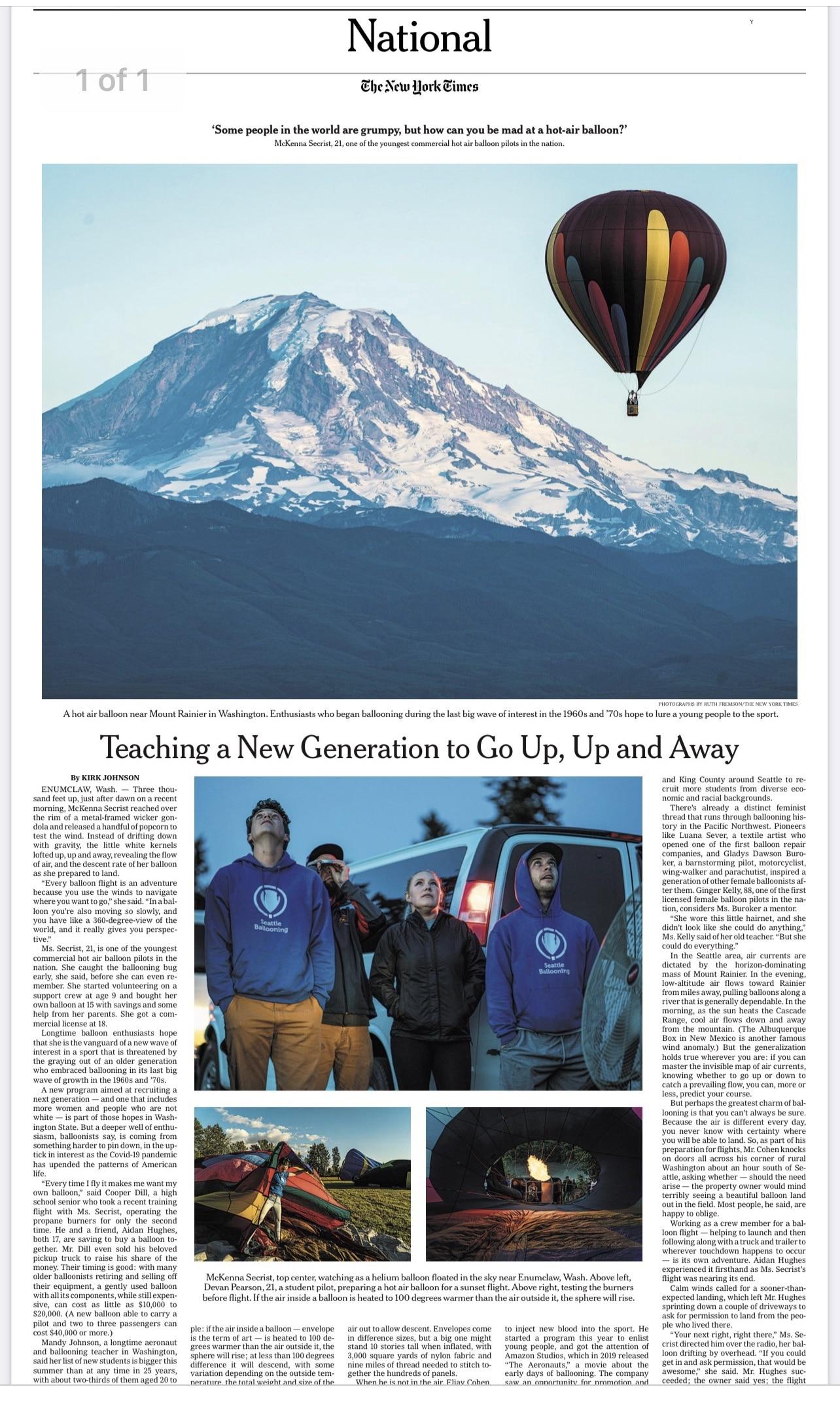 New York Times Seattle Ballooning
