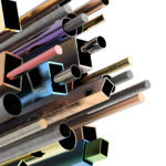 3d rendering colorful pipes in several shapes
