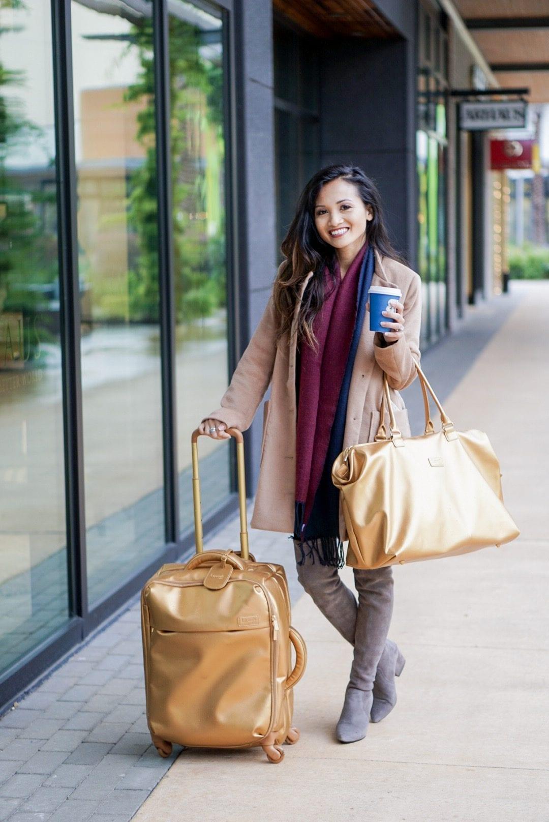 lipault Paris, Lipault Paris Luggage Travel Set, lipault Paris miss plume, travel guide, travel gear, travel outfit, travel style, winter travel style, holiday travel style, gold luggage set