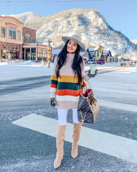 winter outfits, Sam Edelman boots, Louis Vuitton neverfull gm, Chicwish, white jeans, fedora
