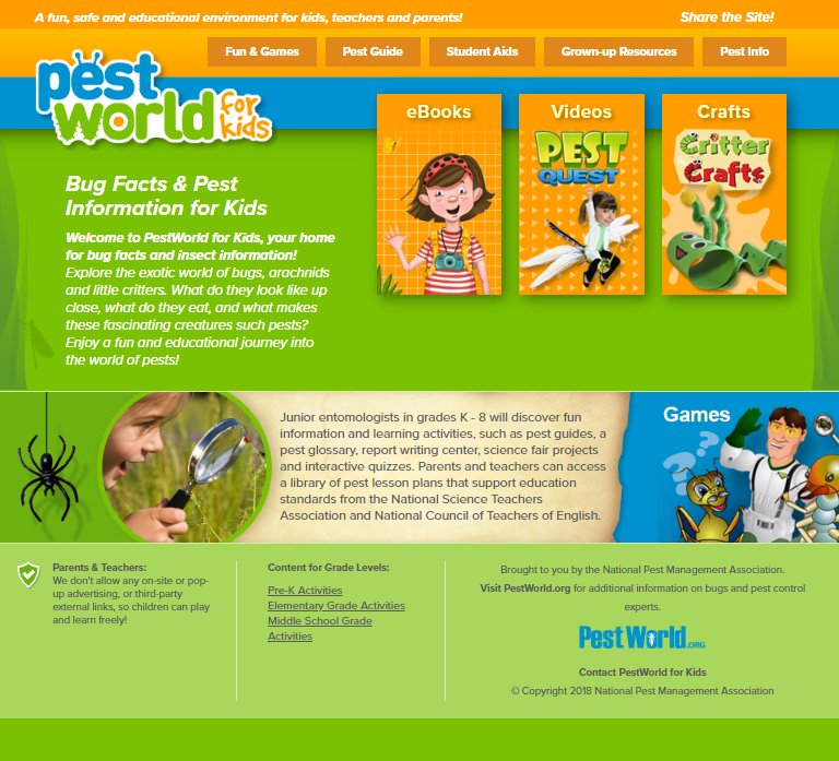 Click Here to take you to a BUG WORLD designed especially for YOU!