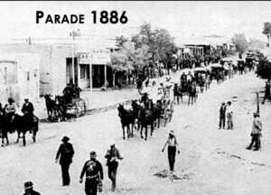 An image of a parade in 1886