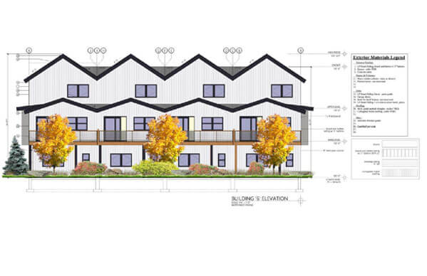 Solstice Townhomes side view rendering