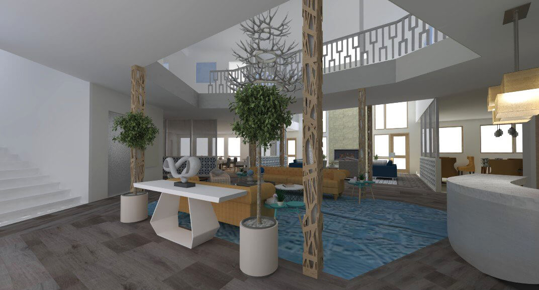 Sopris Lodge Interior Common space rendering