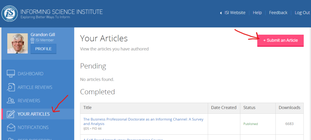 Submitting an article